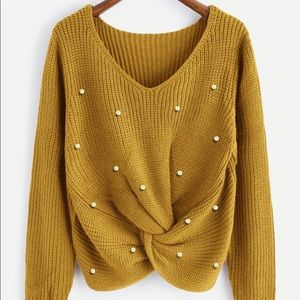 Sweaters - 🆕Mustard v neck twist front pearl detail seater